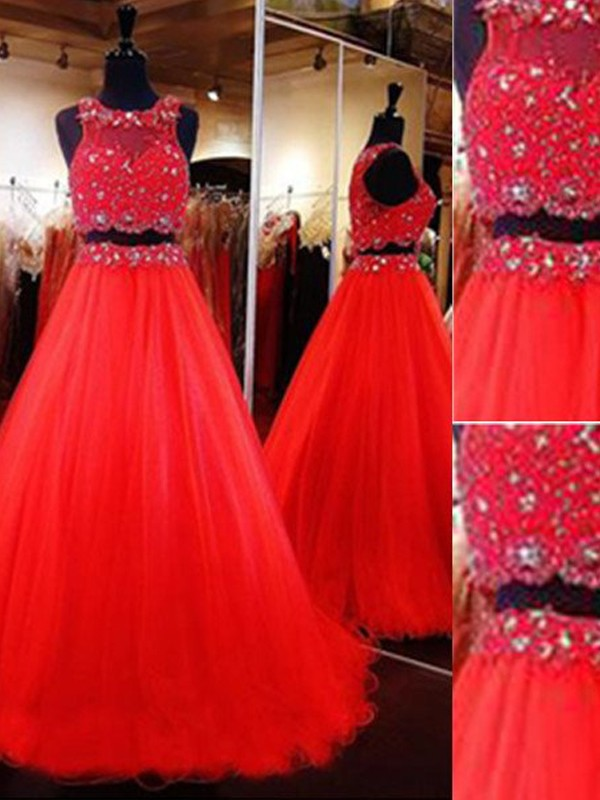 Floor-Length A-Line/Princess Scoop Sleeveless Beading Tulle Dresses