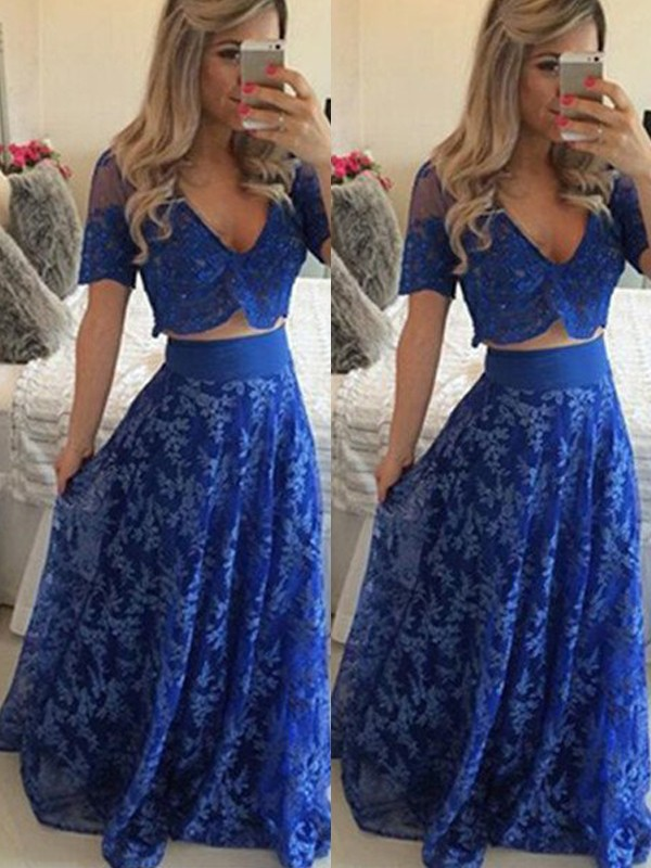 Floor-Length A-Line/Princess V-neck Short Sleeves Lace Dresses