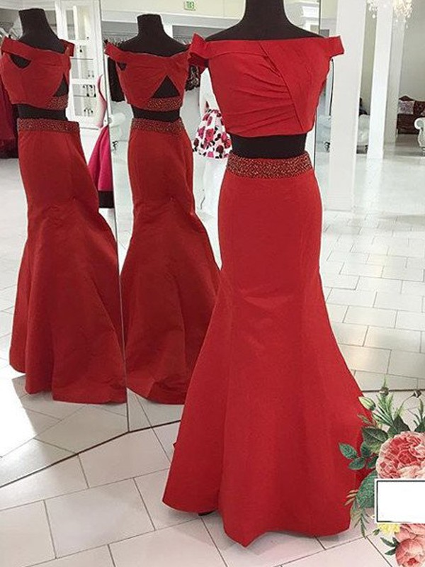 Sweep/Brush Train Trumpet/Mermaid Off-the-Shoulder Sleeveless Ruched Satin Dresses