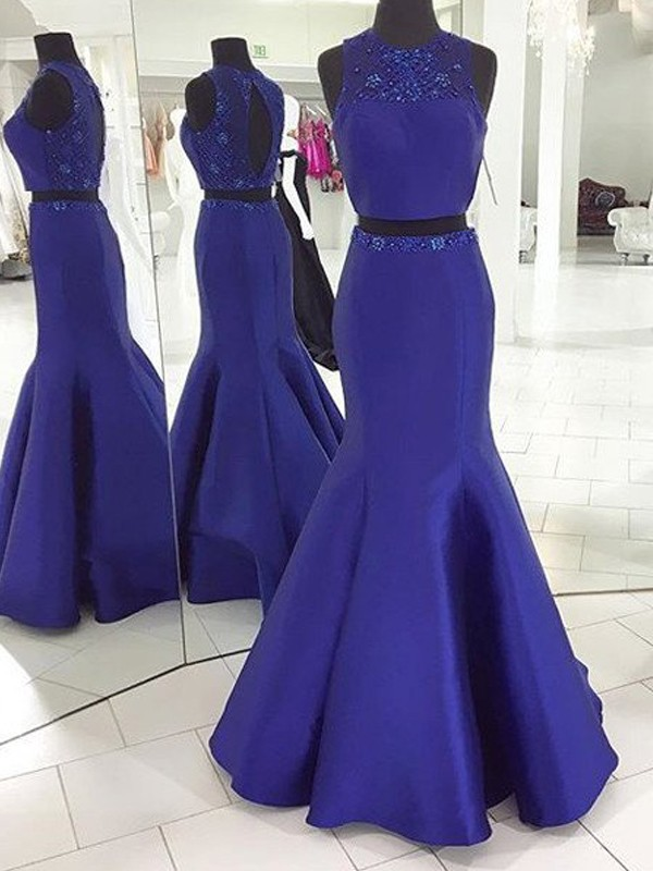 Floor-Length Trumpet/Mermaid Scoop Sleeveless Beading Satin Dresses