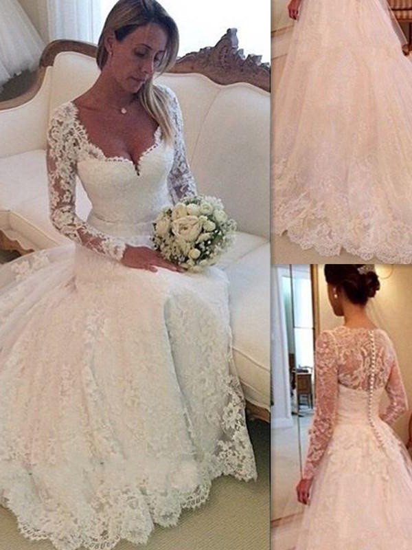 Court Train Ball Gown V-neck Sleeveless Lace Tulle Wedding Dresses