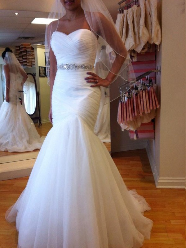 Court Train Trumpet/Mermaid Sweetheart Sleeveless Beading Tulle Wedding Dresses