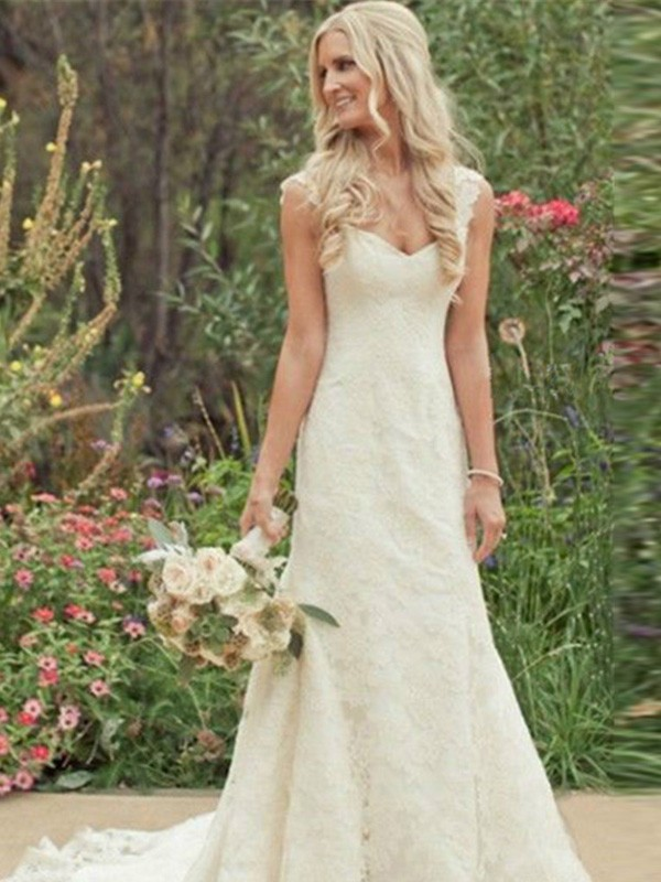 Sweep/Brush Train Trumpet/Mermaid V-neck Sleeveless Lace Wedding Dresses