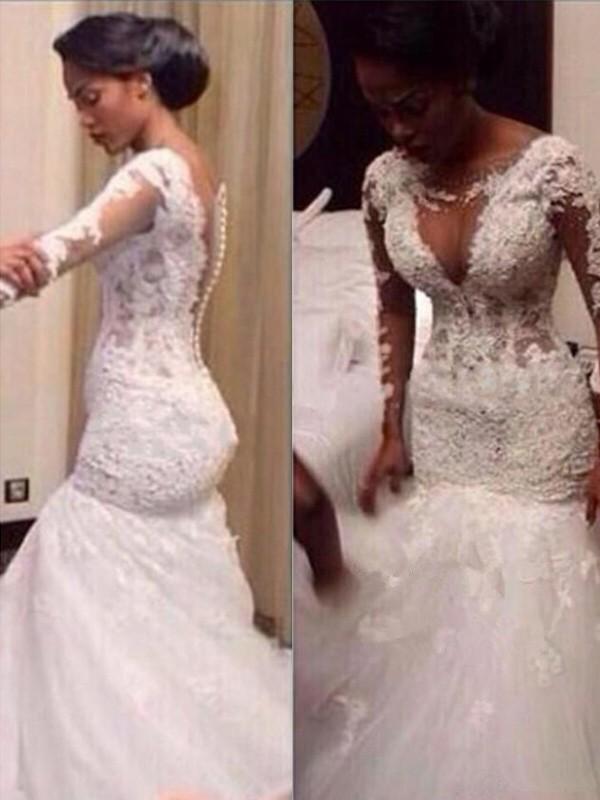 Floor-Length Trumpet/Mermaid V-neck Long Sleeves Lace Tulle Wedding Dresses