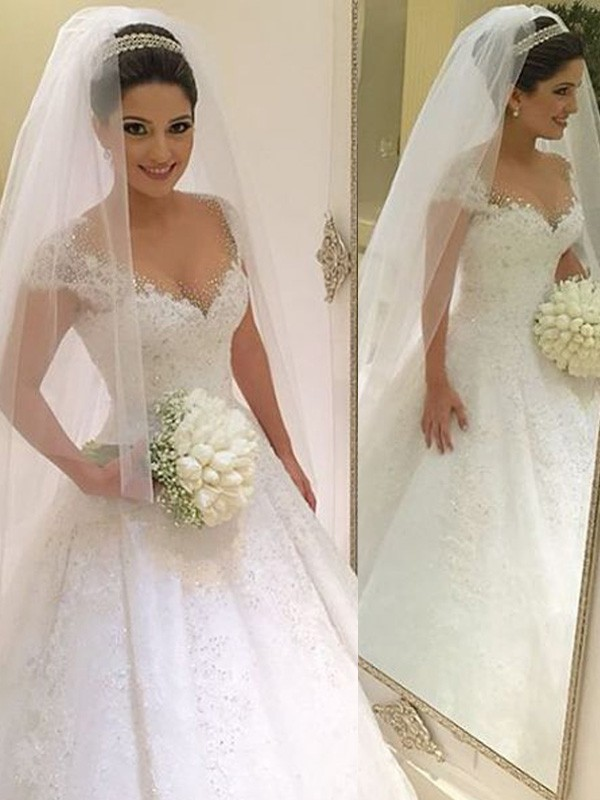 Floor-Length Ball Gown V-neck Sleeveless Beading Tulle Wedding Dresses