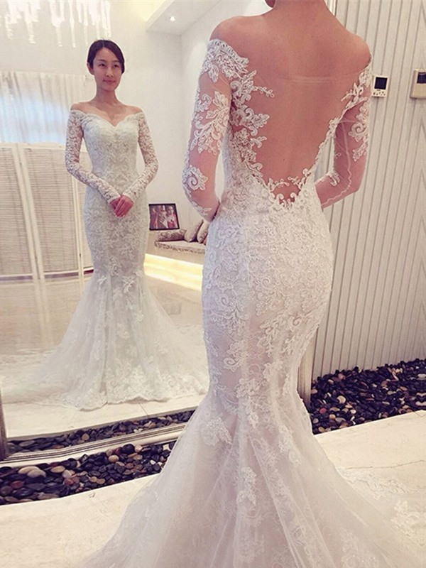 Chapel Train Trumpet/Mermaid Off-the-Shoulder Long Sleeves Lace Wedding Dresses