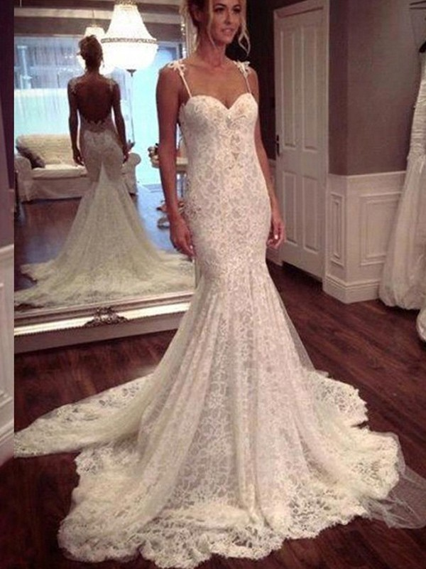Court Train Trumpet/Mermaid Spaghetti Straps Sleeveless Lace Wedding Dresses