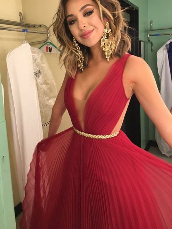 Floor-Length A-Line/Princess V-neck Sleeveless Sash/Ribbon/Belt Chiffon Dresses