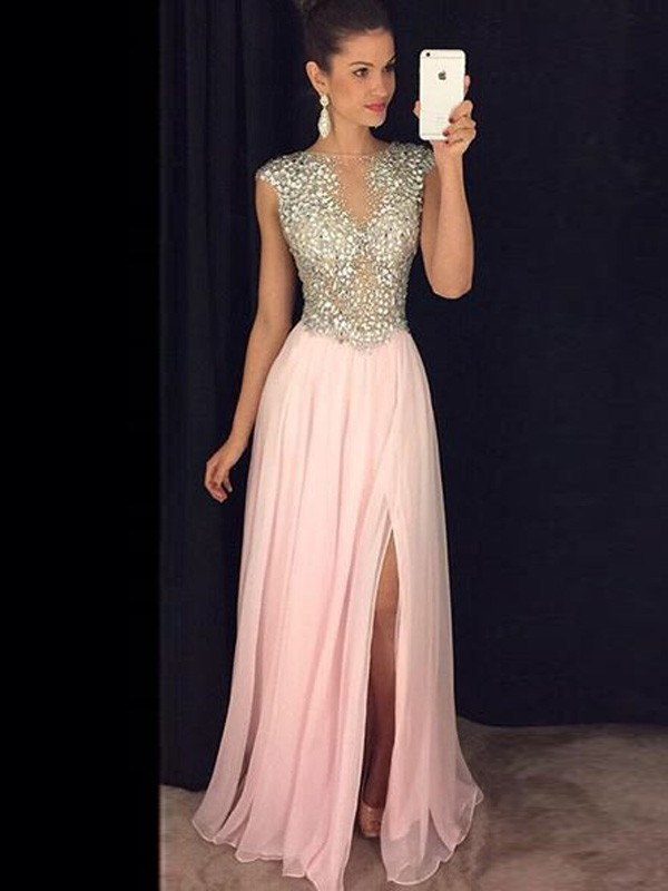 Floor-Length A-Line/Princess Bateau Sleeveless Sequin Chiffon Dresses