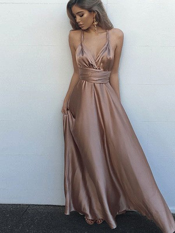 Floor-Length A-Line/Princess Spaghetti Straps Sleeveless Sash/Ribbon/Belt Silk Like Satin Dresses