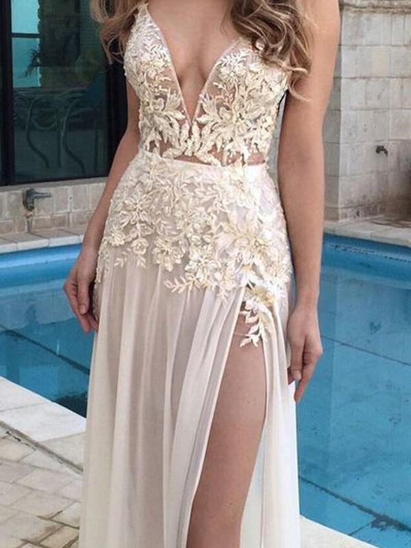 Floor-Length A-Line/Princess V-neck Sleeveless Applique Chiffon Dresses