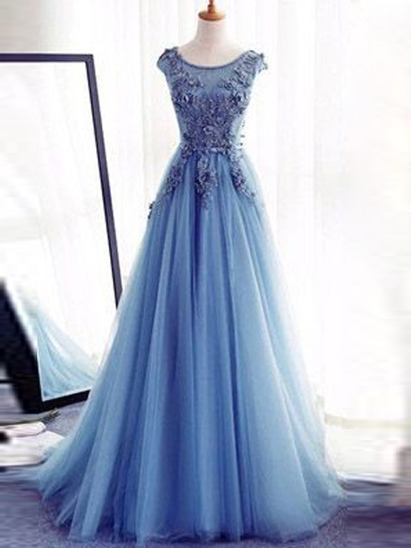 Sweep Train Ball Gown Jewel Sleeveless Applique Tulle Dresses