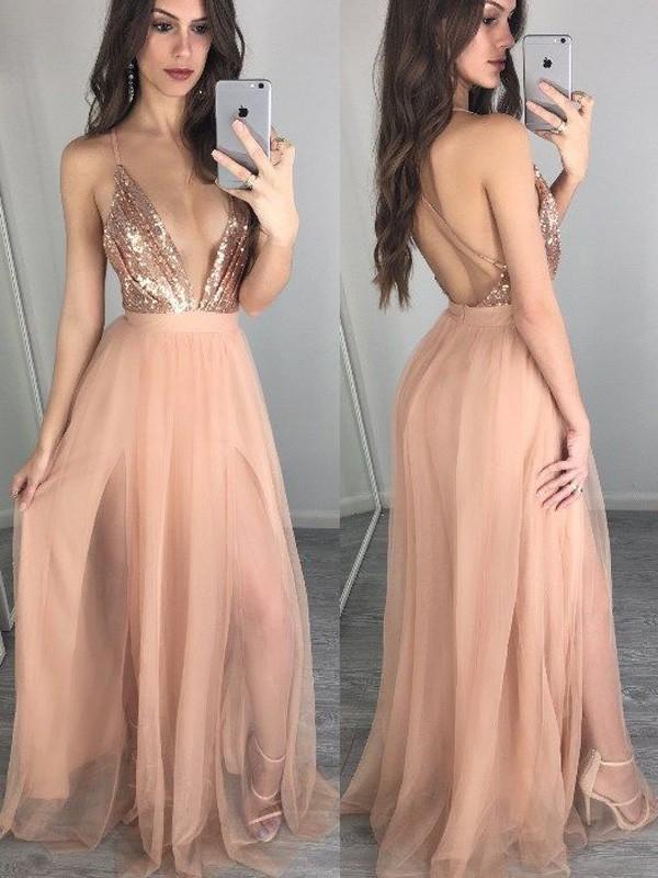 Floor-Length A-Line/Princess Spaghetti Straps Sleeveless Sequin Chiffon Dresses