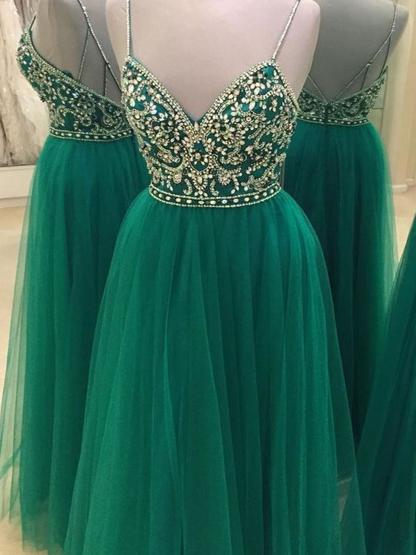 Floor-Length A-Line/Princess Spaghetti Straps Sleeveless Beading Tulle Dresses