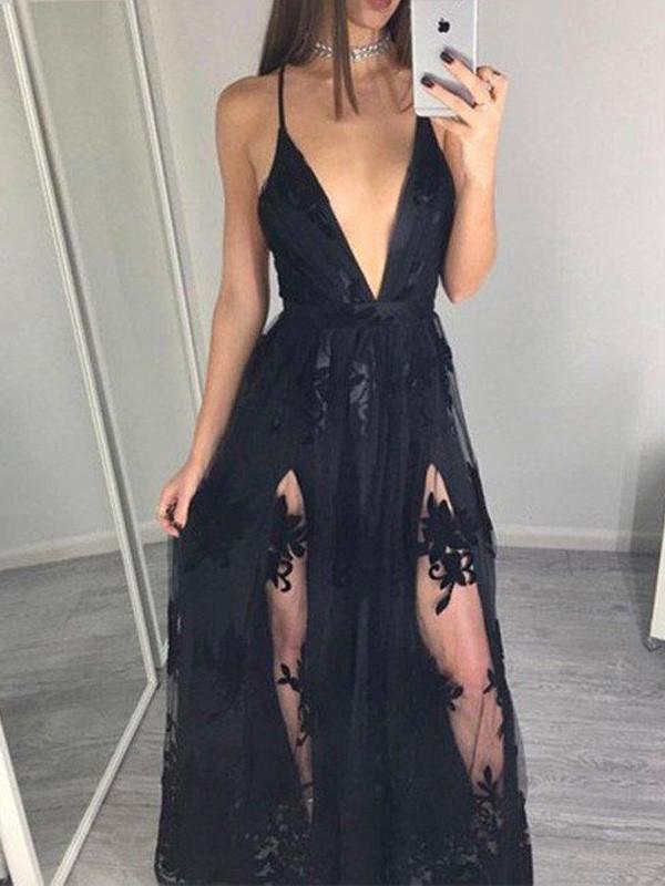 Floor-Length A-Line/Princess Spaghetti Straps Sleeveless Applique Tulle Dresses