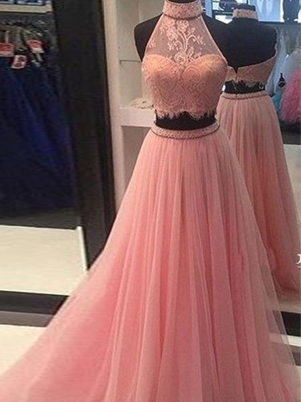 Floor-Length A-Line/Princess High Neck Sleeveless Lace Tulle Dresses