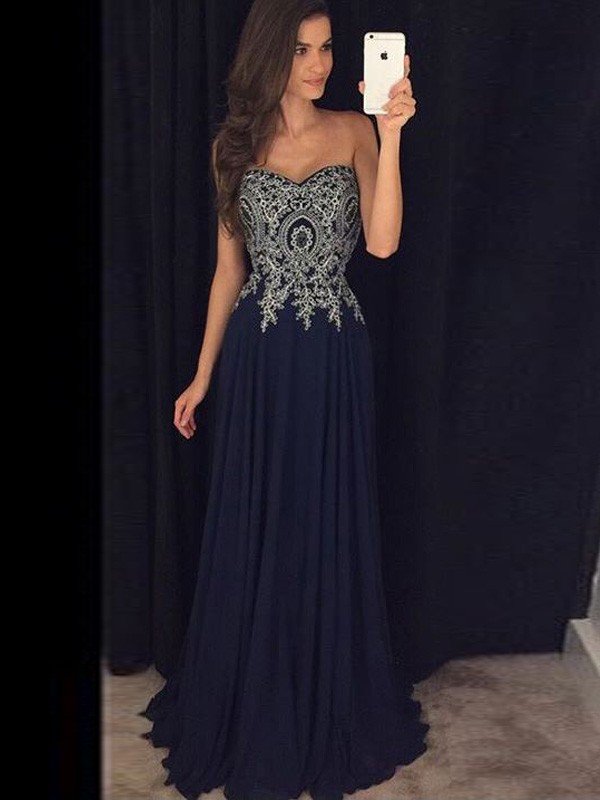 Floor-Length A-Line/Princess Sweetheart Sleeveless Applique Chiffon Dresses