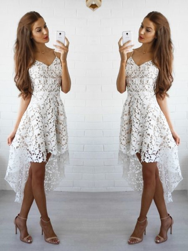 Short/Mini A-Line/Princess Spaghetti Straps Sleeveless Lace Dresses