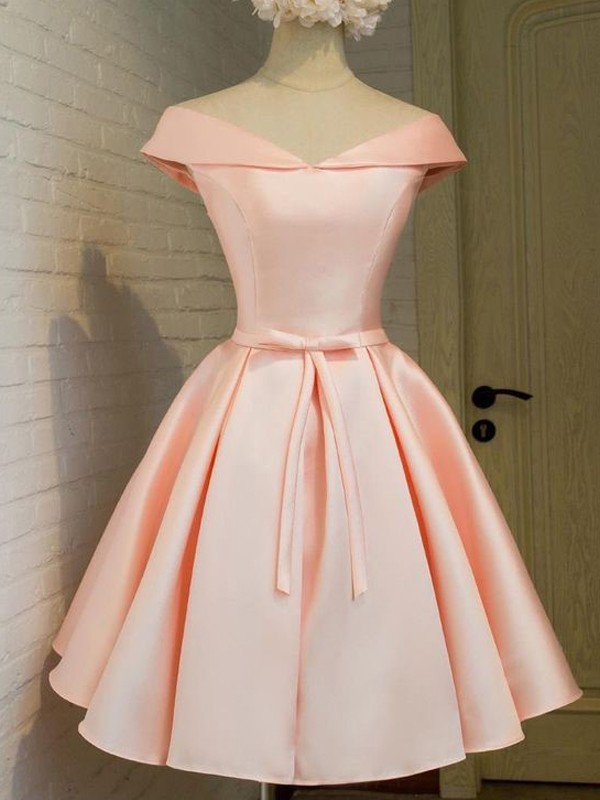 Short/Mini A-Line/Princess V-neck Sleeveless Sash/Ribbon/Belt Satin Dresses