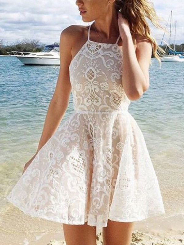 Short/Mini A-Line/Princess Halter Sleeveless Lace Dresses