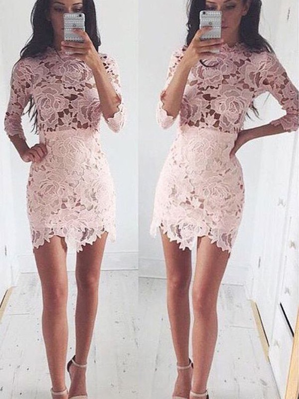 Short/Mini A-Line/Princess Scoop 1/2 Sleeves Lace Dresses