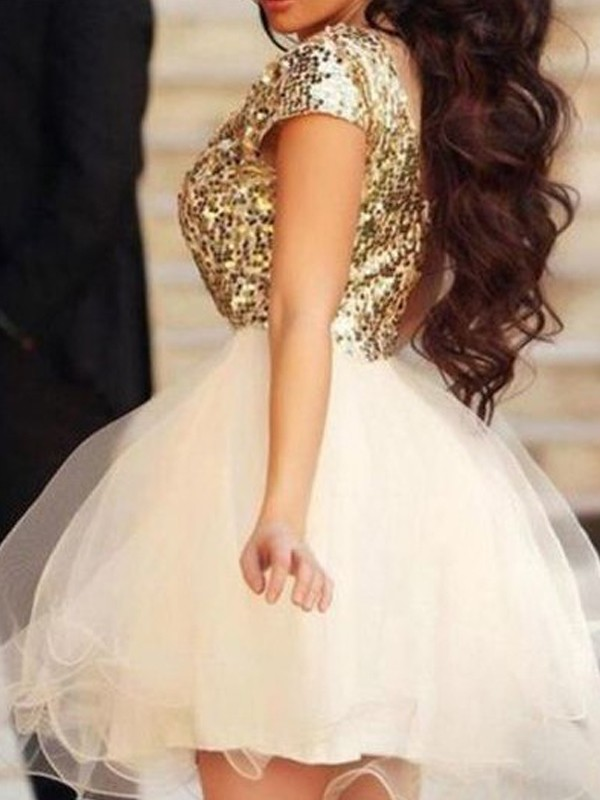 Short/Mini A-Line/Princess Scoop Sleeveless Sequin Tulle Dresses
