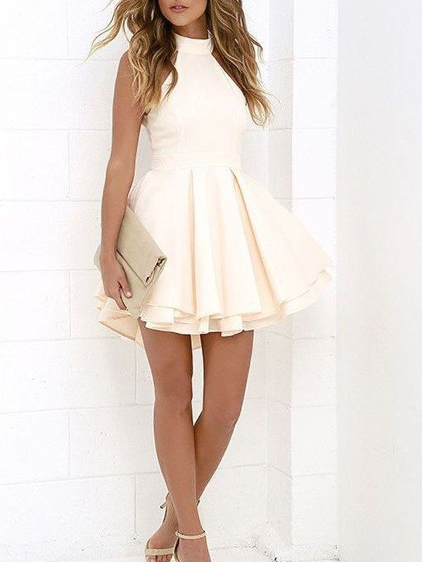 Short/Mini A-Line/Princess Halter Sleeveless Satin Dresses