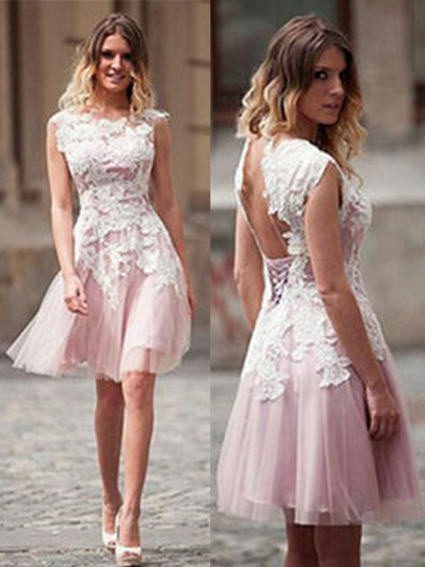 Short/Mini A-Line/Princess Scoop Sleeveless Applique Tulle Dresses