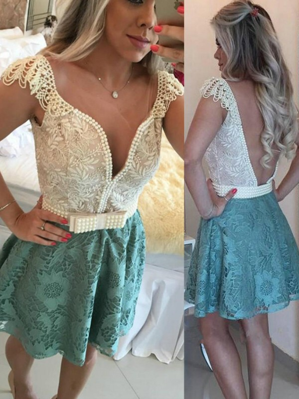 Short/Mini A-Line/Princess V-neck Sleeveless Beading Lace Dresses