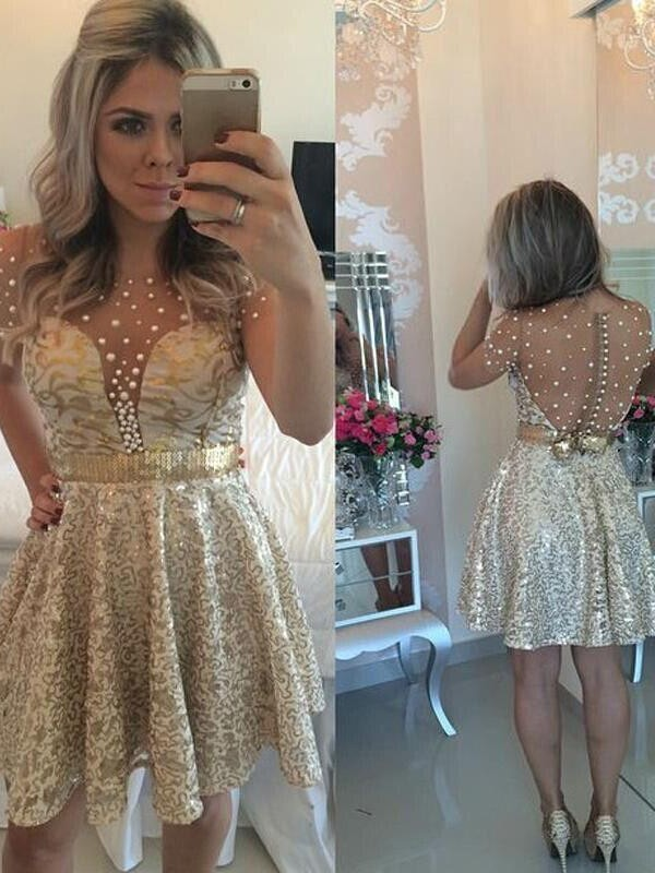 Short/Mini A-Line/Princess Scoop Sleeveless Sequin Satin Dresses