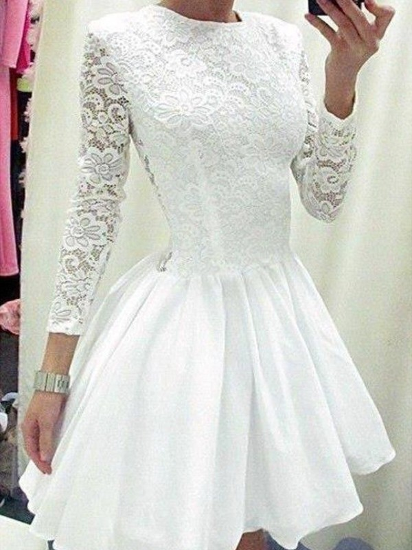 Short/Mini A-Line/Princess Scoop Long Sleeves Lace Chiffon Dresses
