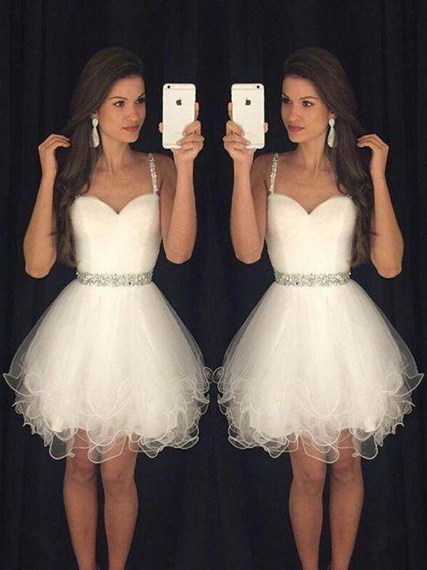 Short/Mini A-Line/Princess Sweetheart Sleeveless Beading Tulle Dresses