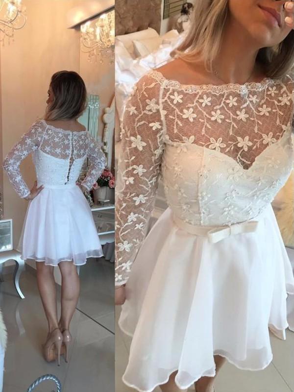 Short/Mini A-Line/Princess Bateau Long Sleeves Sash/Ribbon/Belt Chiffon Dresses