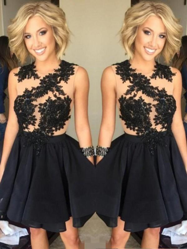 Short/Mini A-Line/Princess Scoop Sleeveless Lace Chiffon Dresses