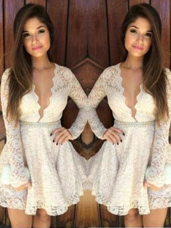 Short/Mini A-Line/Princess V-neck Long Sleeves Lace Dresses