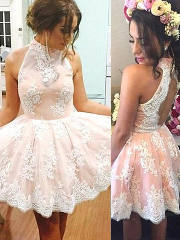 Short/Mini A-Line/Princess High Neck Sleeveless Lace Dresses