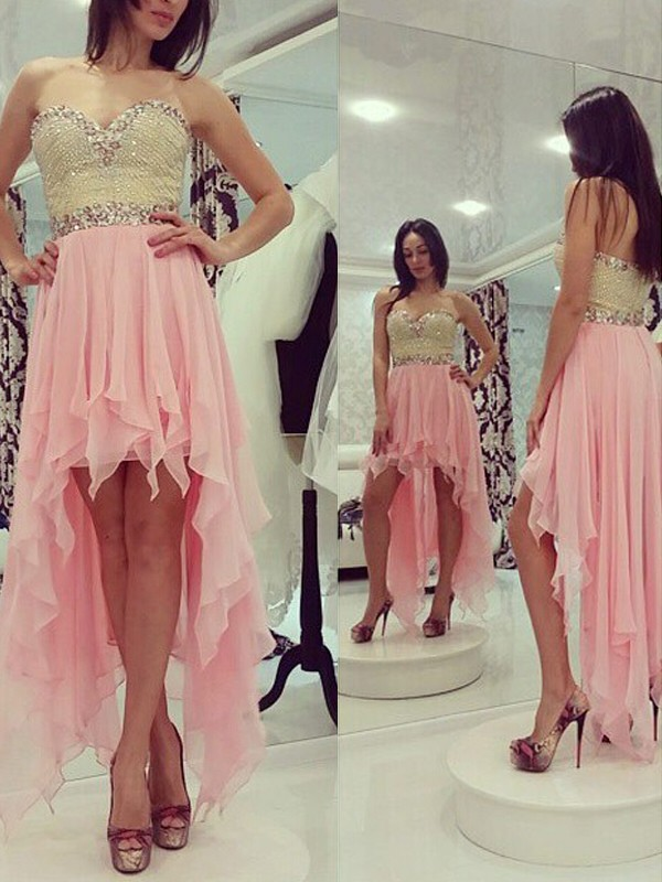 Asymmetrical A-Line/Princess Sweetheart Sleeveless Beading Chiffon Dresses