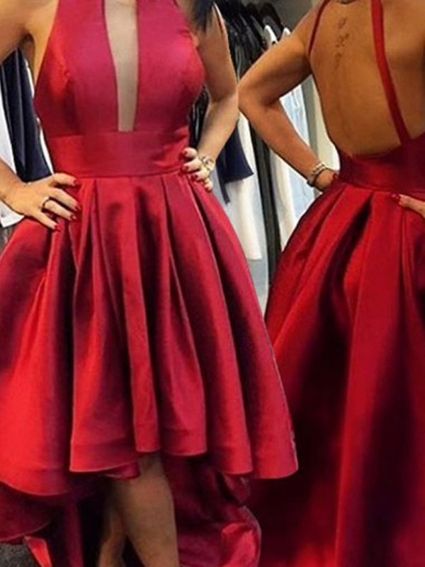 Asymmetrical A-Line/Princess Halter Sleeveless Satin Dresses