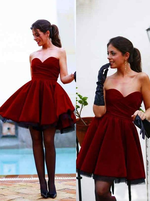 Short/Mini A-Line/Princess Sweetheart Sleeveless Satin Dresses