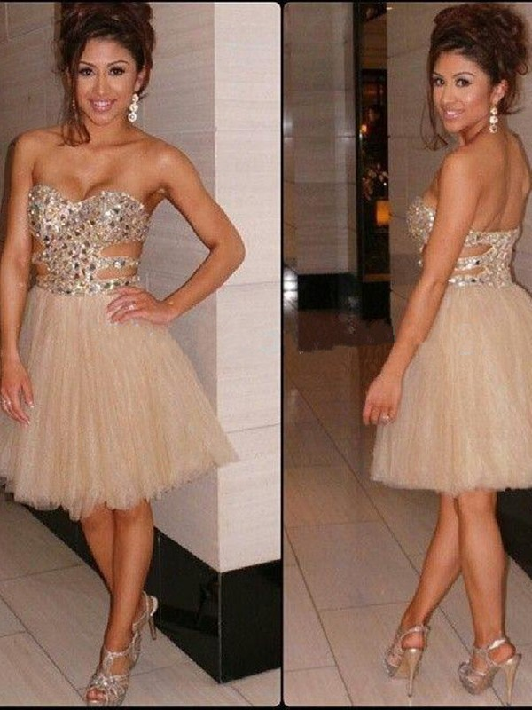 Short/Mini A-Line/Princess Sweetheart Sleeveless Sequin Tulle Dresses