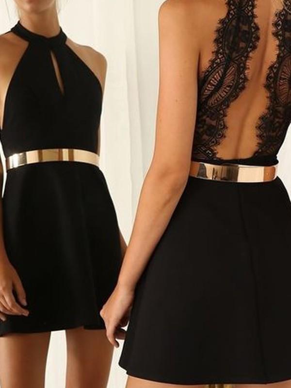 Short/Mini A-Line/Princess Halter Sleeveless Lace Jersey Dresses