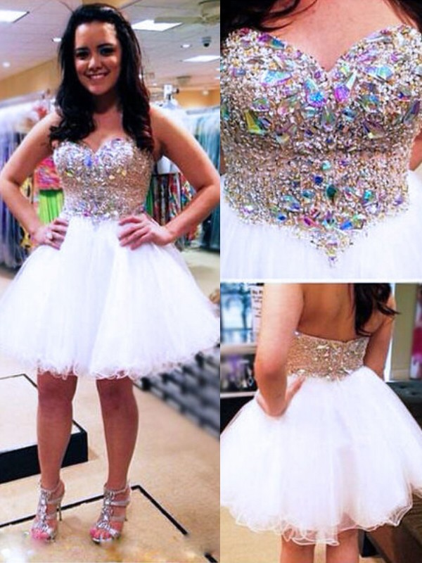 Short/Mini A-Line/Princess Sweetheart Sleeveless Beading Tulle Dresses