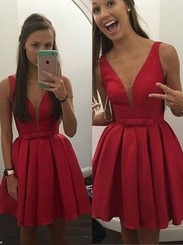 Short/Mini A-Line/Princess V-neck Sleeveless Bowknot Satin Dresses