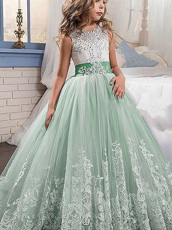 Sweep Train Ball Gown Jewel Sleeveless Lace Tulle Flower Girl Dresses
