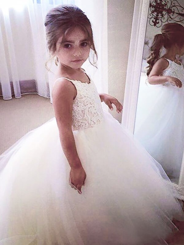 Floor-Length Ball Gown Jewel Sleeveless Lace Tulle Flower Girl Dresses