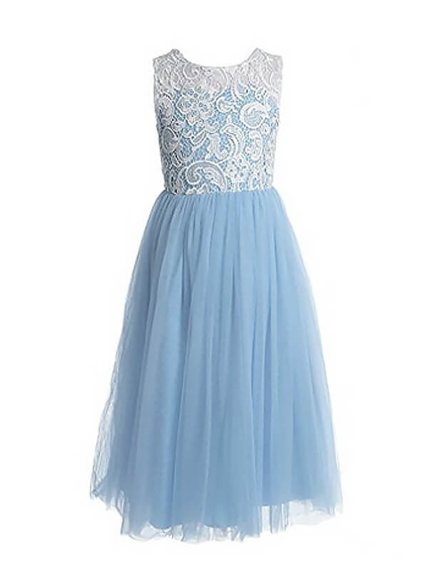 Ankle-Length A-Line/Princess Jewel Sleeveless Lace Tulle Flower Girl Dresses