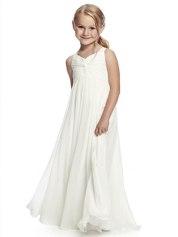 Floor-Length A-Line/Princess Straps Sleeveless Ruched Chiffon Flower Girl Dresses