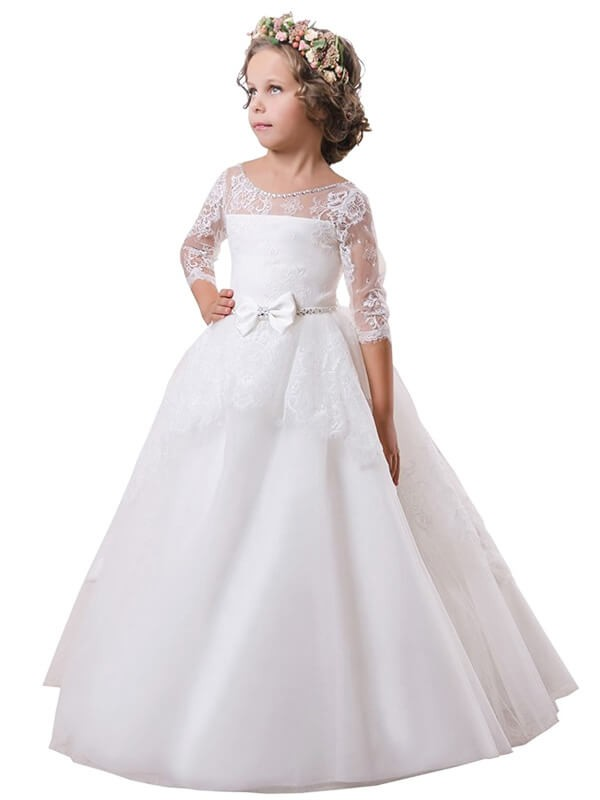 43bbb6ca1347db Sweep Train Ball Gown Jewel Long Sleeves Lace Satin Flower Girl Dresses