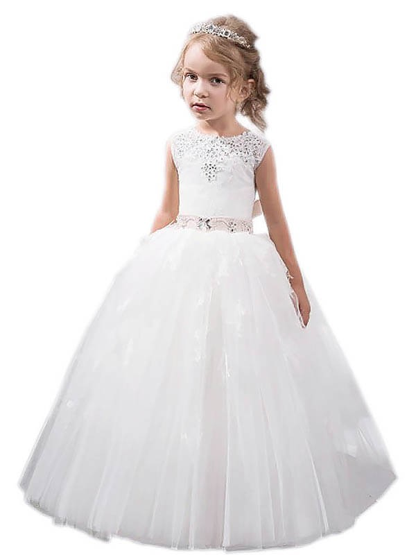 Floor-Length Ball Gown Jewel Sleeveless Crystal Tulle Flower Girl Dresses