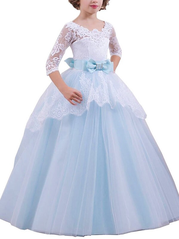 088a9605f6a Floor-Length Ball Gown Jewel 1 2 Sleeves Lace Tulle Flower Girl Dresses